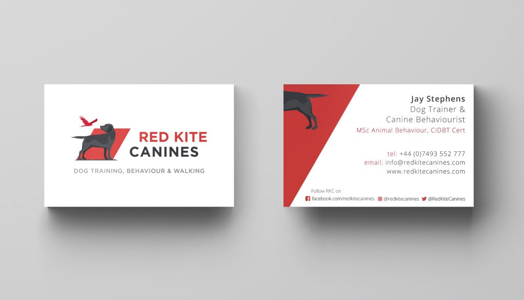 Red Kite branding on business cards.